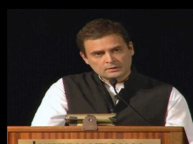 Rahul Gandhi delivering his speech at Berkeley. Photo: ANI