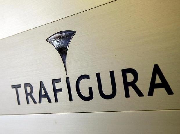 Trafigura logo is pictured in the company entrance in Geneva. Photo: Reuters