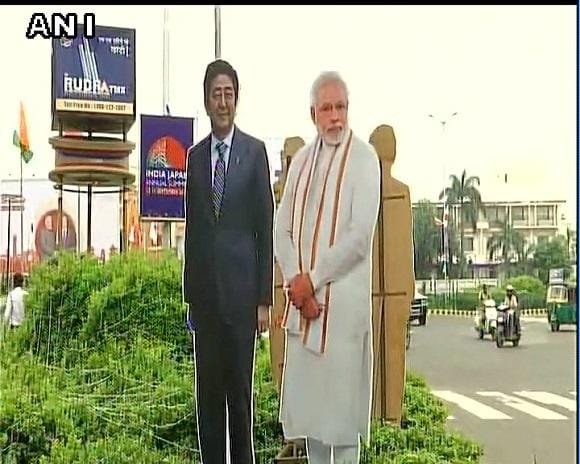 Gujarat: Ahmedabad gears up to welcome Japan's Prime Minister Shinzo Abe and PM Modi; PM Abe to begin his two-day visit. Photo: ANI