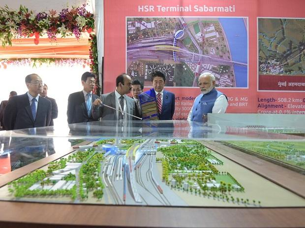 The foundation stone for India's first high speed rail was laid by Modi, Abe. Photo: Twitter (@narendramodi)