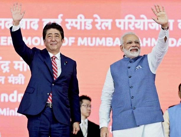 PM Modi and Japanese PM Shinzo Abe lay the foundation stone for India's first high-speed rail project on Thursday in Ahmedabad. Photo: Twitter (@ANI)