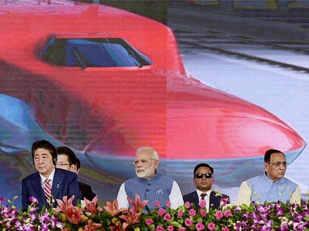 Prime Minister Narendra Modi and the Prime Minister of Japan, Shinzo Abe at Ground Breaking ceremony of Mumbai-Ahmedabad High Speed Rail Project, at Ahmedabad, Gujarat. Photo: PTI