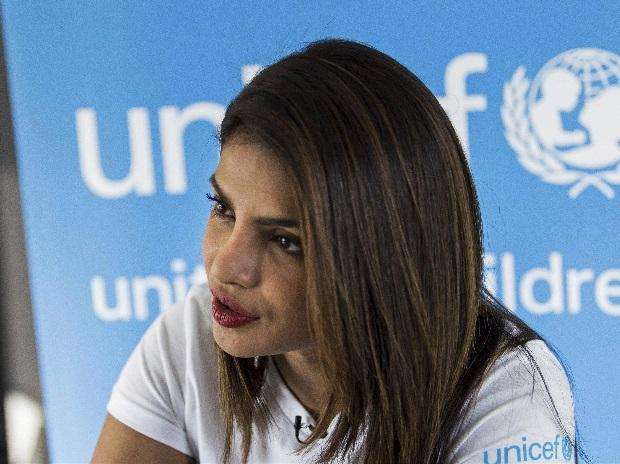 Amman : Priyanka Chopra, a UNICEF Goodwill Ambassador, gives an interview to The Associated Press at the UNICEF Country Office in Amman. Photo: PTI