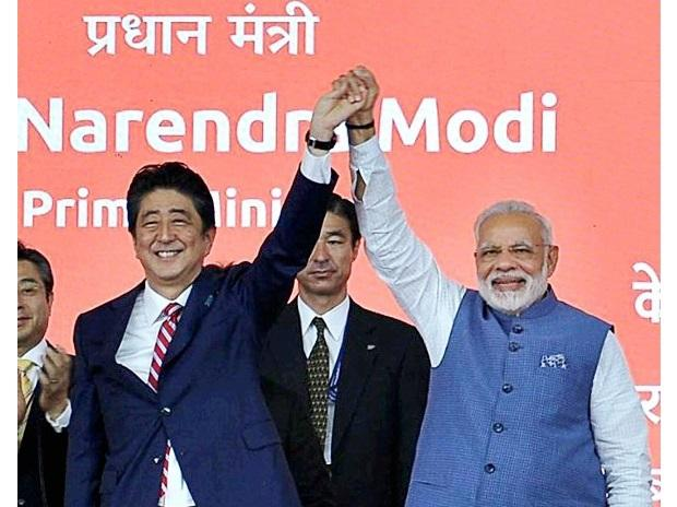 Prime Minister Narendra Modi and his Japanese counterpart Shinzo Abe. Photo: PTI