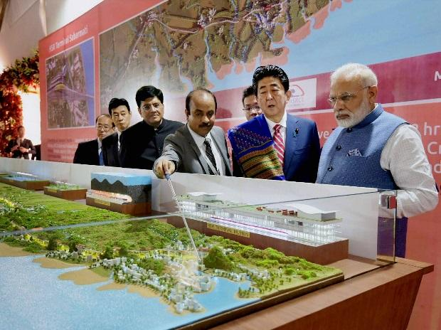 Prime Minister Narendra Modi with his Japanese counterpart Shinzo Abe at Ground Breaking ceremony of Mumbai-Ahmedabad High Speed Rail Project, in Ahmedabad on Thursday. (Photo: PTI)