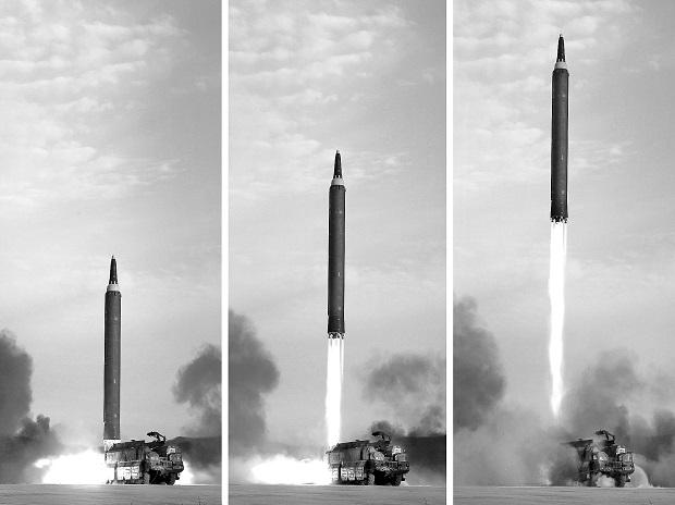 An undated picture of the Hwasong-12 missile launch, which was guided by North Korean leader Kim Jong Un. KCNA via Reuters