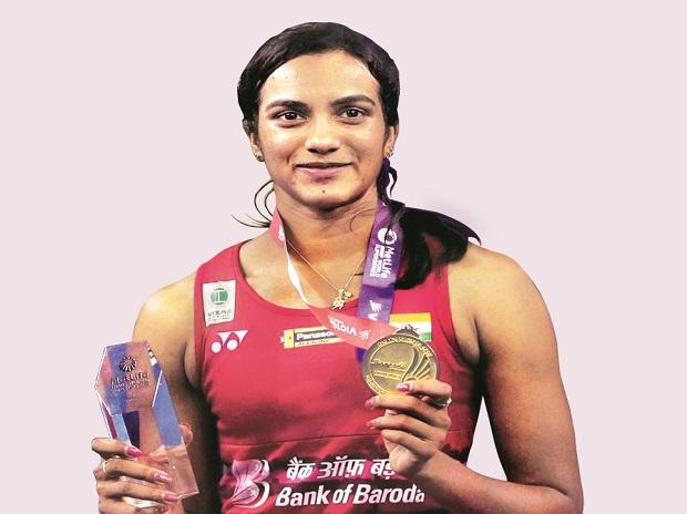 P V Sindhu poses with the gold medal and trophy after winning against Japan's Nozomi Okuhara during the women's singles final match at the Korea Open Super Series in Seoul, South Korea. (File Photo: PTI)