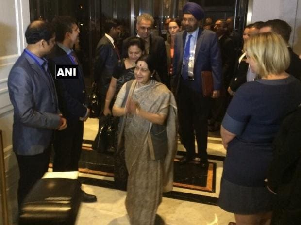Sushma Swaraj reached New York for 72nd UN General Assembly