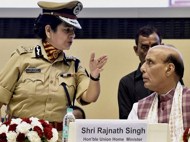 New Delhi: Home Minister Rajnath Singh with SSB DG Archana Ramasundaram at the launch of Welfare and Rehabilitation Board (WARB) App during a Sashastra Seema Bal (SSB) function in New Delhi. PTI Photo
