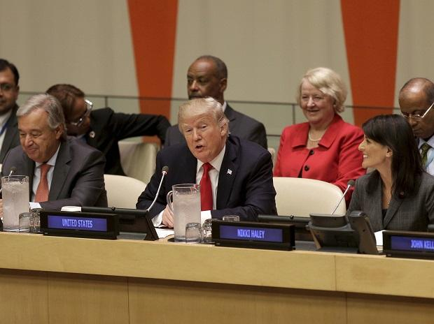 UN: Donald Trump, center, speaks while United Nations Secretary-General Antonio Guterres, left, and U.S. Ambassador to the United Nations Nikki Haley watch during the United Nations General Assembly. Photo: PTI