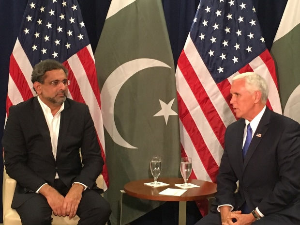 US Vice-President Mike Pence meets Pakistan Prime Minister Shahid Abbasi. (Photo: Twitter handle of Mike Pence, @VP)