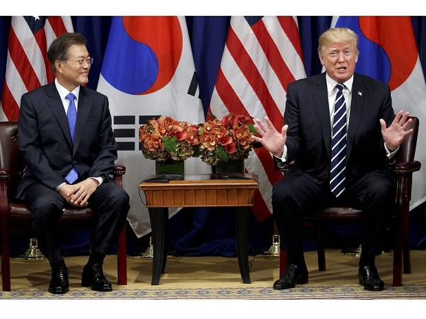President Donald Trump speaks at a meeting with South Korean President Moon Jae-in at the Palace Hotel during the United Nations General Assembly. Photo: AP/PTI