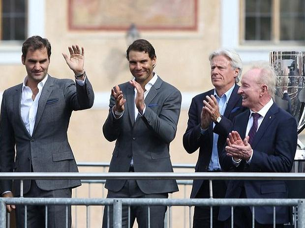 Roger Federer, Rafael Nadal, Bjorn Borg and Rod Laver. Photo: Reuters