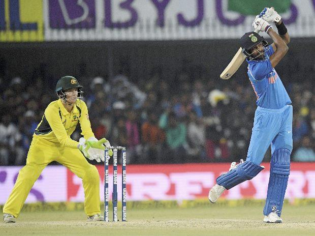 Indian batsman Hardik Pandya plays a shot during the 3rd ODI cricket match against Australia at Holkar Stadium in Indore. Photo: PTI