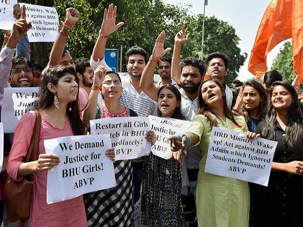ABVP members shout slogans during a protest in support of Banaras Hindu University (BHU) girls' agitation, outside HRD Ministry in New Delhi. Photo: PTI