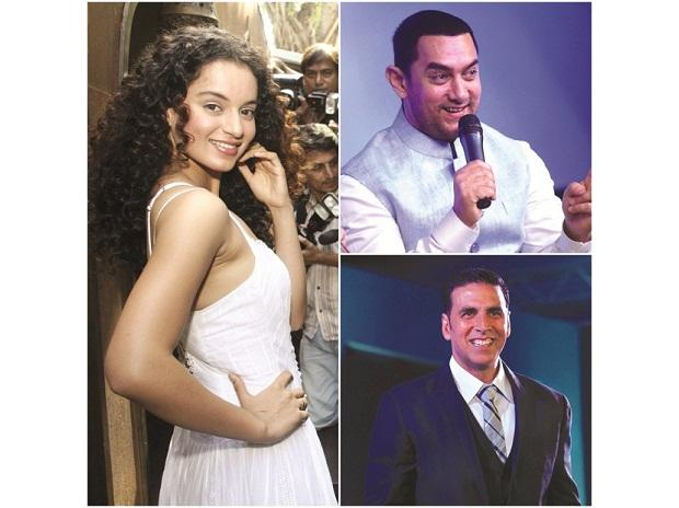 Clockwise (left to right): Kangana Ranaut spoke about misogyny and her personal battles with former co-stars before Simran, Aamir Khan marketed everything from his look to the sport for Dangal, Akshay Kumar campaigned against open defecation before T