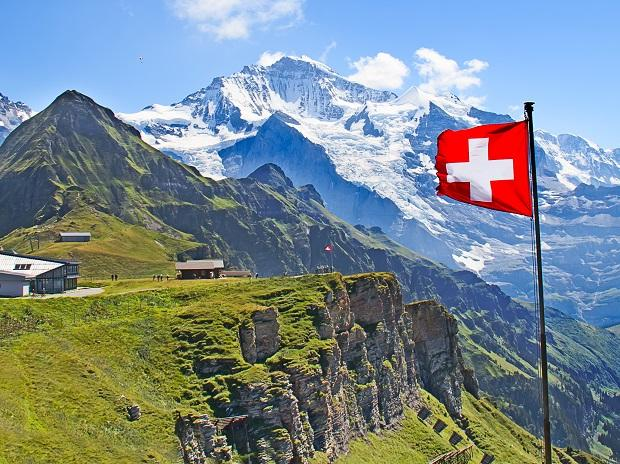 Swiss flag on the top of Mannlichen (Jungfrau region, Bern, Switzerland). Image: Shutterstock