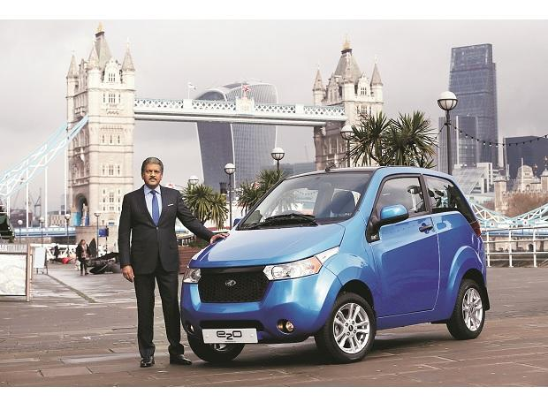 Mahindra Group Chairman Anand Mahindra at the launch of the e2o in London