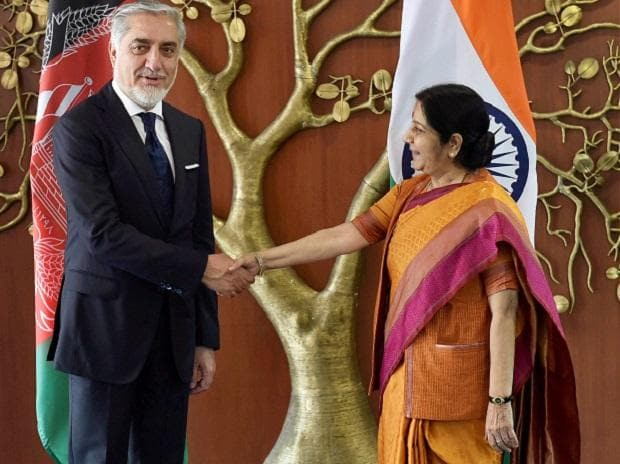 External Affairs Minister Sushma Swaraj  shakes hands with Afghanistan's Chief Executive Abdullah Abdullah. (Photo: PTI)
