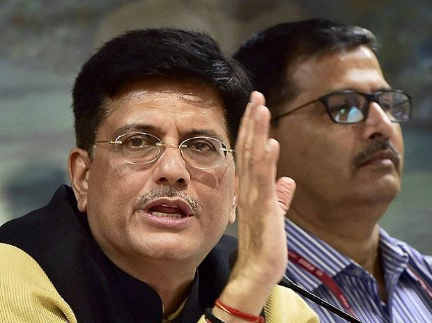 Railway Minister Piyush Goyal gestures as he addresses a press conference in New Delhi. Photo: PTI