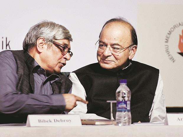 Finance Minister Arun Jaitley with Prime Minister's Economic Advisory Council Chairman Bibek Debroy at the release of the book India @ 70 Modi @ 3.5 in New Delhi on Thursday. Photo: PTI