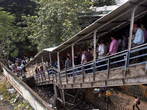 Passengers caught in a stampede at Elphinstone railway station's foot over bridge in Mumbai. Photo: PTI