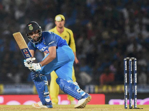 Indian batsman Rohit Sharma plays a shot during the 5th ODI cricket match against Australia at Vidarbha Cricket Association Stadium, Jamtha, Nagpur (Photo: PTI)