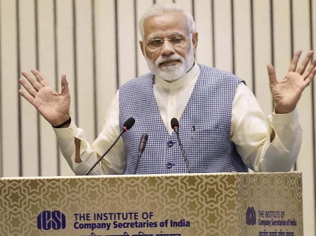 Prime Minister Narendra Modi addresses during the  inauguration of the Golden Jubilee Year Celebrations of the Institute of Company Secretaries of India (ICSI) at Vigyan Bhavan in New Delhi. (Photo: PTI)