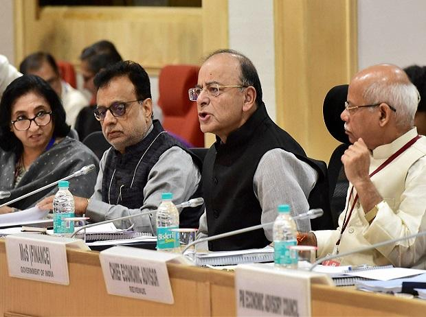nion Finance Minister Arun Jaitley, MoS for Finance Shiv Pratap Shukla and Revenue Secretary Hasmukh Adhia at the 22nd meeting of the Goods and Services Tax (GST) council. Photo: PTI