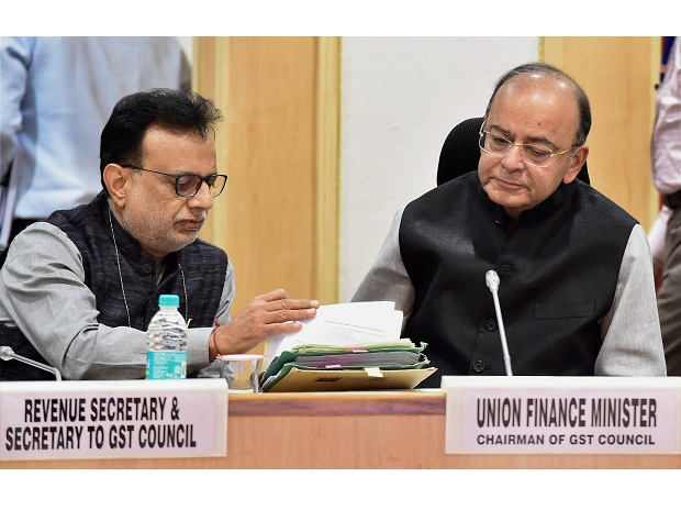 Union Finance Minister Arun Jaitley and Revenue Secretary Hasmukh Adhia (L) at the 22nd meeting of the GST council in New Delhi. (File Photo: PTI)