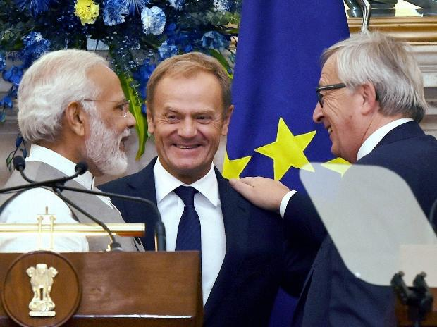 Prime Minister Narendra Modi with Donald Franciszek Tusk, President of the European Council and Jean-Claude Juncker, President of the European Commission after their joint press conference at Hyderabad House in New Delhi.