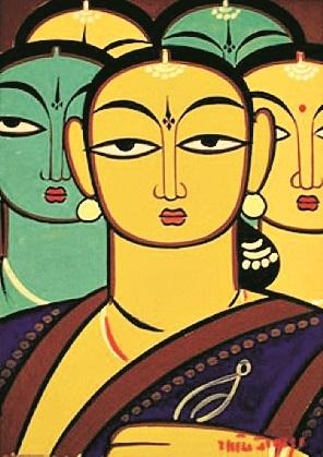 Jamini Roy often painted the same simple scenes over and over again