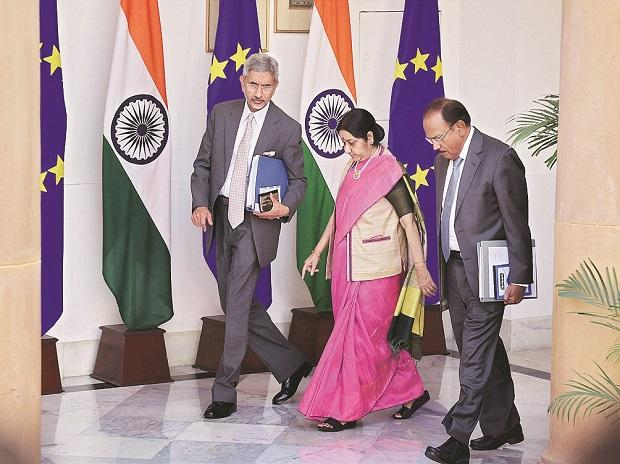 From left: Foreign Secretary S Jaishankar, External Affairs Minister Sushma Swaraj and NSA Ajit Doval in New Delhi  on Friday.	Photo: PTI