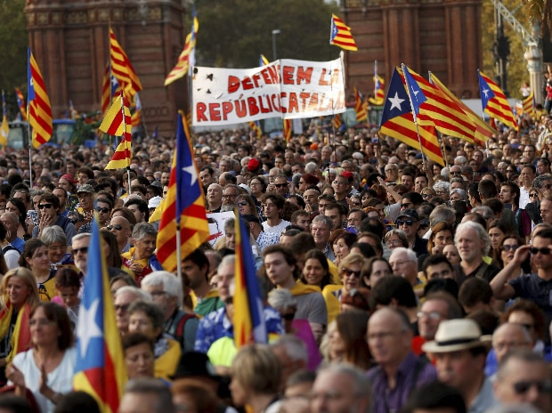 People with Catalan flags gather during a rally in Barcelona, Spain. (Photo: AP| PTI)
