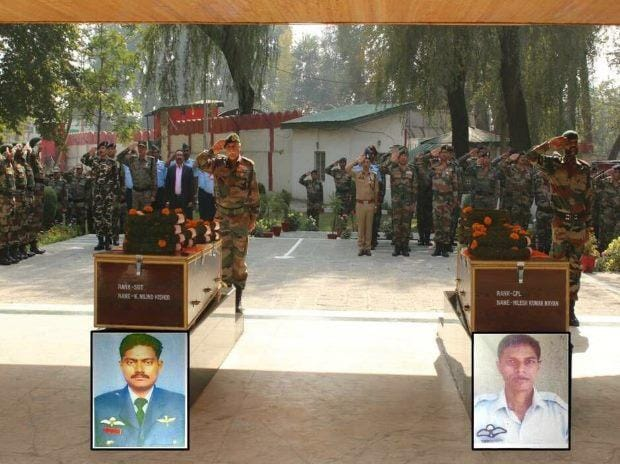 IAF Garud commando martyrs Milind Kishore & Nilesh Kumar being paid last tributes in Srinagar