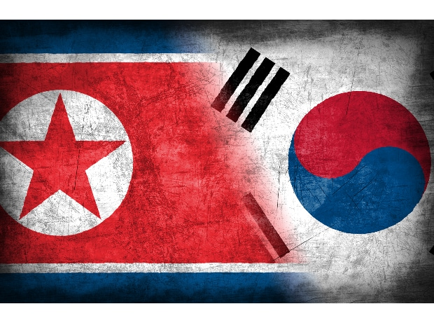 North and South Korea, North and South Korea flags, North Korea, South Korea