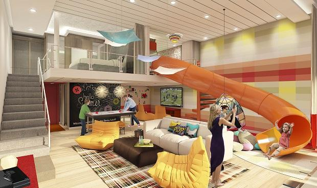 A two-level Ultimate Family Suite that features a slide, a floor-to-ceiling LEGO wall and an air-hockey table