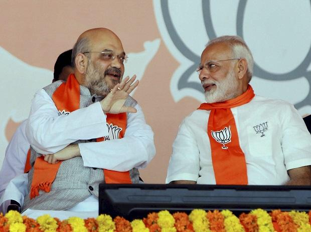 Prime Minister Narendra Modi with BJP President Amit Shah during