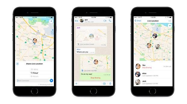 WhatsApp live location sharing feature