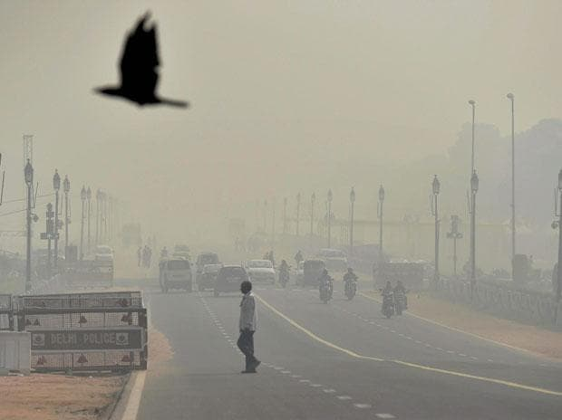 Smog covers Rajpath a day after Diwali festival in New Delhi. File Photo: PTI