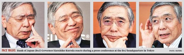 Bank of Japan (BoJ) Governor Haruhiko Kuroda reacts during a press conference at the BoJ headquarters in Tokyo