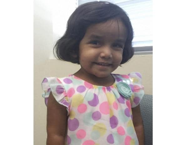 Photo provided by the Richardson Texas Police Department shows 3-year-old Sherin Mathews. Police in a Dallas suburb say they've found the body of a small child. Photo: AP/PTI