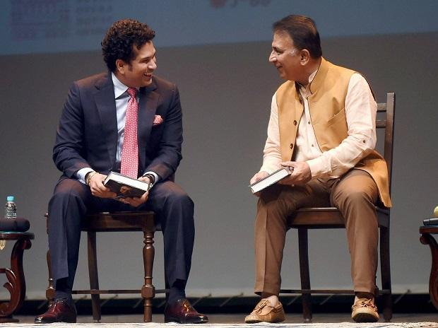 Sunil Gavaskar and Sachin Tendulkar during the launch of senior journalist Rajdeep Sardesai's book 'Democracy's XI'. Photo: PTI