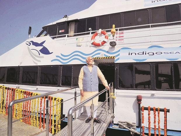 Prime Minister Narendra Modi boards the Ghogha-Dahej Ro-Ro ferry service after its inauguration in Bhavnagar, Gujarat, on Sunday.	Photo: PTI