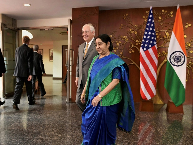 Minister for External Affairs Sushma Swaraj along with US Secretary of State Rex Tillerson before a meeting in New Delhi. (Photo: PTI)