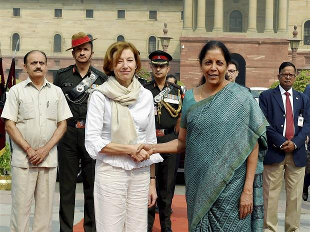 Defence  Minister Nirmala Sitharaman shakes hand with her French counterpart Florence Parly  arrival at the South Block  in New Delhi. Photo: PTI