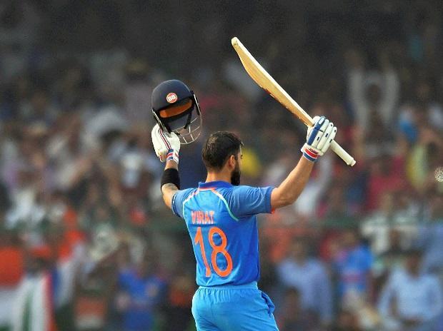 Kanpur: Indian batsman Virat Kohli celebrates his century during 3rd ODI cricket match against New Zealand at Green Park Stadium in Kanpur on Sunday. PTI Photo