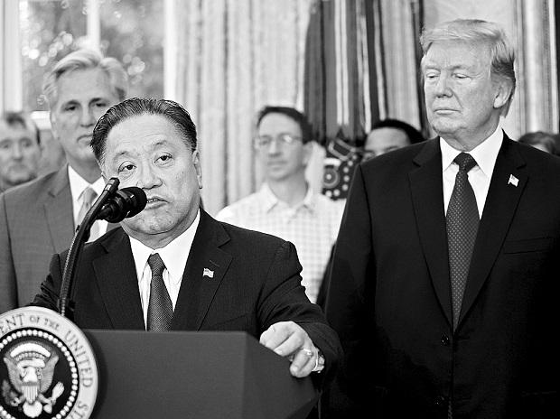 A November 2 picture of Broadcom CEO Hock E Tan speaking in the Oval Office of the White House 	Reuters