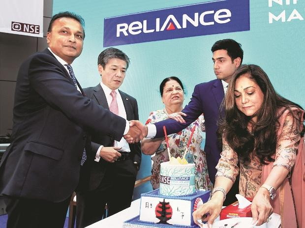 Reliance Group Chairman Anil Ambani, Nippon Life Insurance Vice-Chairman Takeshi Furuichi, Ambani's mother Kokilaben, wife Tina Ambani, and son and ED of Reliance Capital Anmol Ambani at the listing ceremony of Reliance Nippon AMC. (Photo: PTI)
