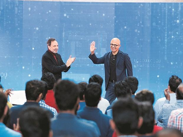 Microsoft Chief Executive Officer Satya Nadella being interviewed by NDTV's Prannoy Roy